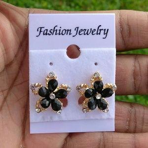 Jewelry - Black Flower Petal Gold Tone CZ Stud Earrings